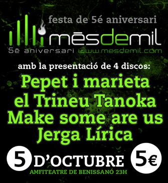 5é aniversari de Mesdemil, segell discogràfic de Benaguasil, comarca del Camp de Túria