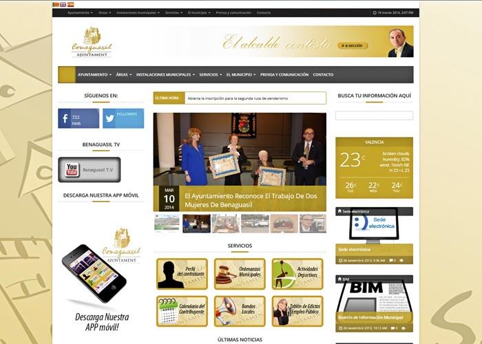 Aparença de la nova web de Benaguasil.