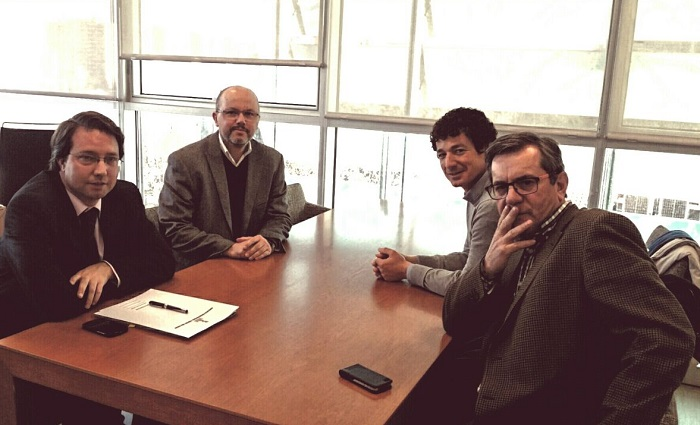 El portavoz del PP de l'Eliana, Sergio Montaner, en la reunión mantenida en la Conselleria de Infraestructuras.