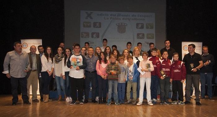 Premiados en la Gala del Deporte de este año junto a la alcaldesa de La Pobla.