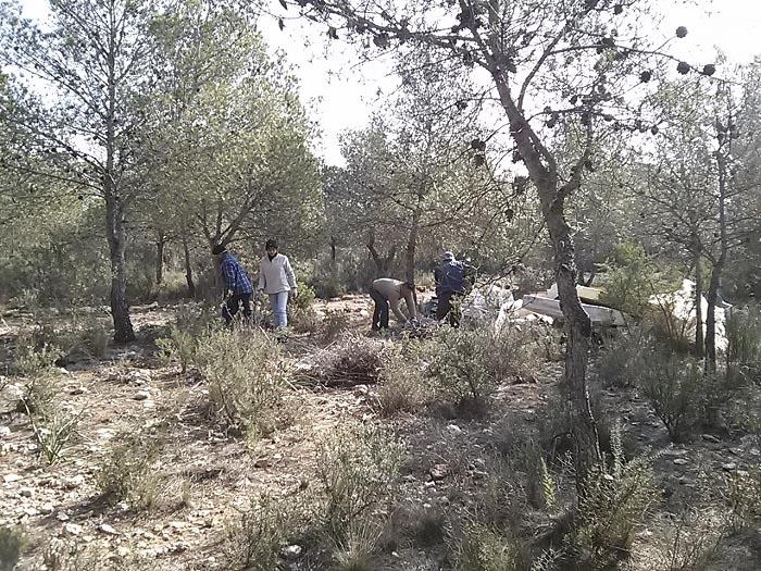 Trabajadores municipales realizan tareas de limpieza en el paraje natural de la Manguilla.