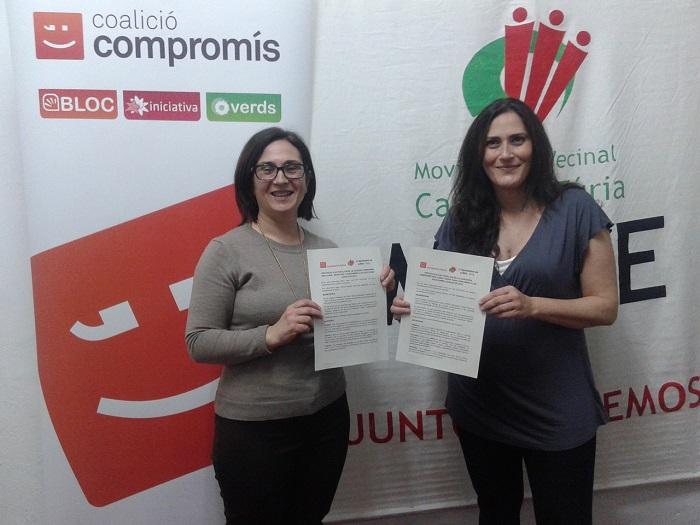 Inma Riera y Elena Jiménez han firmado el protocolo electoral de Compromís y MoVe.