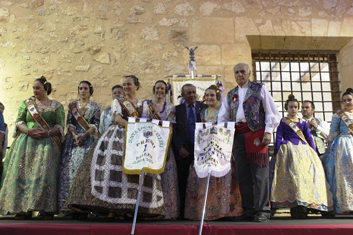 Las falleras mayores de la falla ganadora, en el acto celebrado en Ca la Vila.