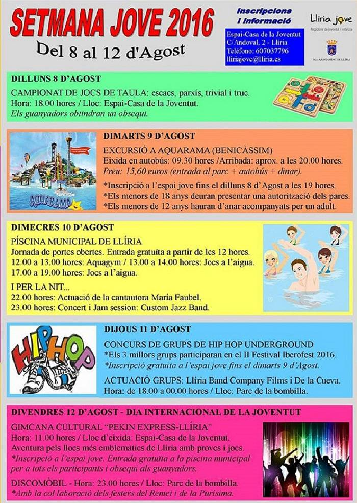 Arranca la setmana jove con excursiones m sica juegos y for Piscina municipal lliria