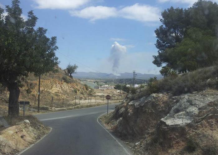 Inicio del incendio visto desde Llíria, el camp de túria