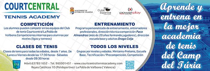 El referente en el Camp de Túria en enseñanza y competición tenística está en La Pobla de Vallbona y se llama Court Central Tennis Academy