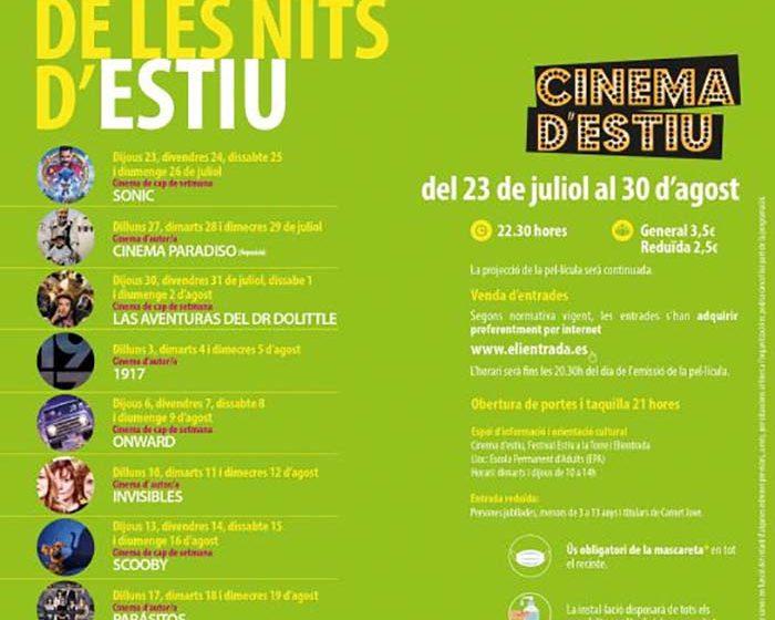 Cartel terraza verano cinema estiu l'Eliana 2020
