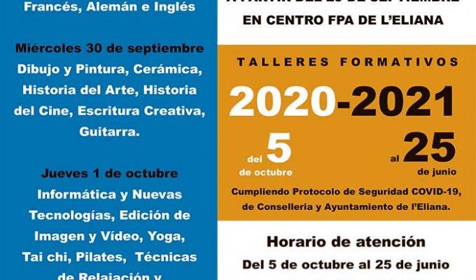 Cartel talleres formativos asociación salamandra l'Eliana