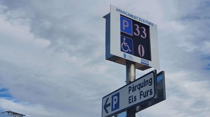 panel aparcamiento la pobla de vallbona